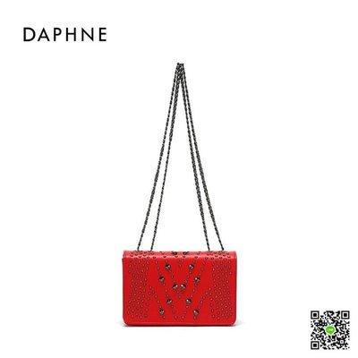 鉚釘/錬條包 Daphne/達芙妮新款單肩斜挎宴會時尚鉚釘錬條女包 玫瑰女孩