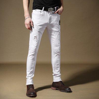寬管褲 3D褲 窄管褲 休閒褲 牛仔褲男修身 小腳 褲男 彈力 顯瘦發型師潮牌破洞男裝白色褲子