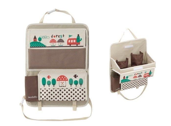 【三元】日本 Decole 車用便利桌收納袋 車用收納袋 面紙袋 置物袋 掛袋~蘑菇森林