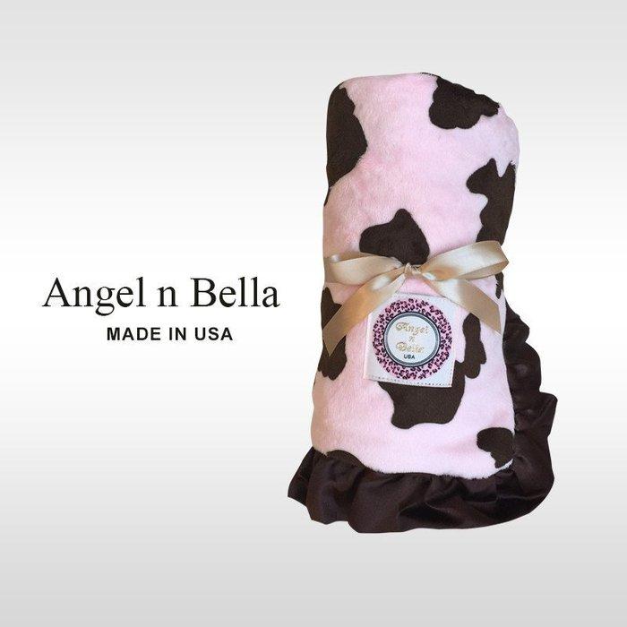 ☆°Angel n Bella.╯☆°【美國製】頂級時尚動物紋攜帶毯/嬰兒毯-粉紅小牛(彌月禮/生日禮)