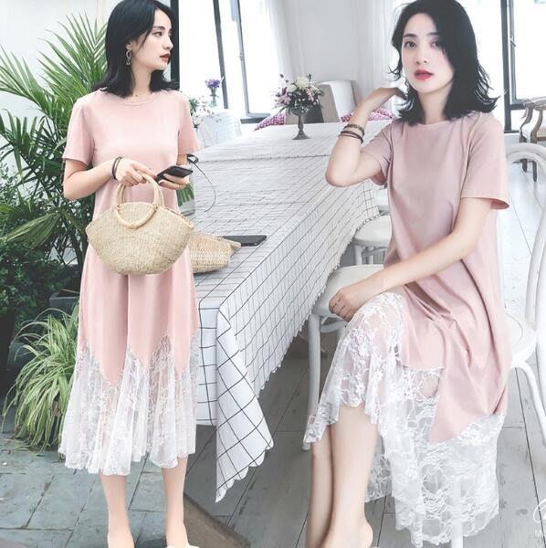 孕婦裝 韓版洋裝 夏裝中長款蕾絲拼接孕婦連身裙 寬松短袖裙子—莎芭