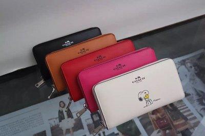 美國正品 COACH 53773 蔻馳SNOOPY系列皮夾 拉鏈款手拿包 真皮錢包 史努比Logo長夾