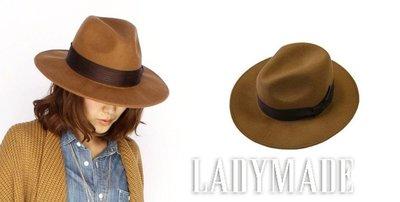 SHINY SPO 獨家代理日本品牌 LADY MADE 都會時尚羊毛邊蝴蝶結綴飾寬緣帽