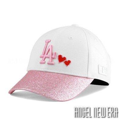 【PD帽饰】【MLB Old Fashioned Cap】道奇 LA 白 粉紅 老帽 金蔥 愛心【ANGEL NEW ERA 】