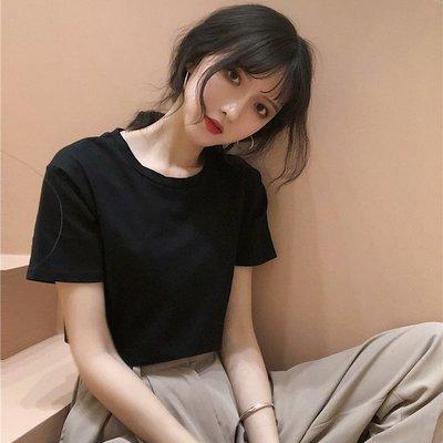 短袖女T恤正韓白T恤韓國T恤夏裝新款學院風純色圓領百搭基礎短袖T恤學生女裝打底衫上衣