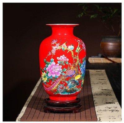 景德鎮陶瓷器 陶瓷花瓶擺件 鳥語花香冬瓜瓶 選一色 開心陶瓷86