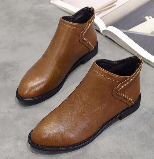 (NN-5100)馬丁靴女英倫風百搭短靴平底裸靴