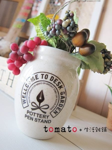 ˙TOMATO生活雜鋪˙日本進口雜貨法式英文字樣花飾插放陶器