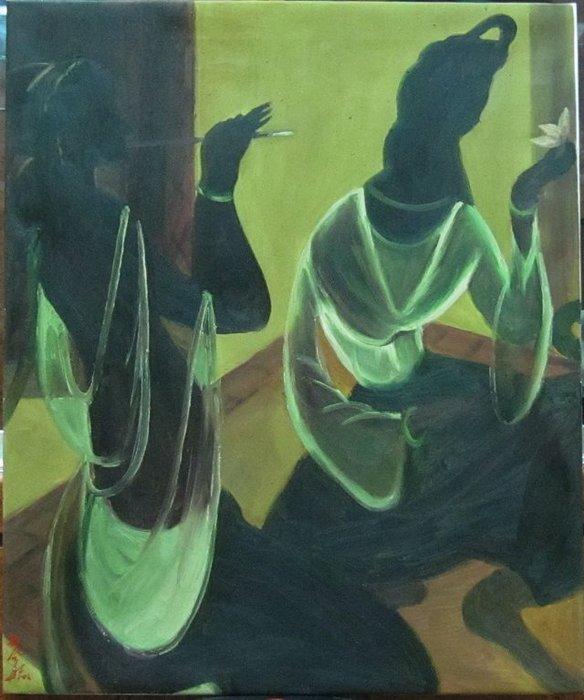 古藝閣 大陸已故名畫家林風眠  油畫  女人
