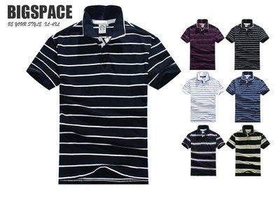 【加大空間】橫條領衫 POLO衫 大尺碼 2XL~4XL 加大 短袖 BIGSPACE【211301】