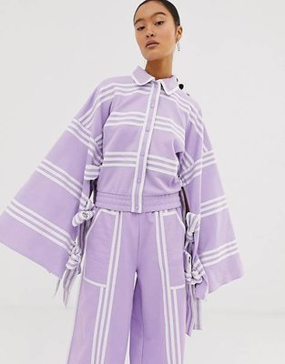 adidas Originals x Ji Won Choi 限量聯名 條紋拼接 蝴蝶結裝飾 寬袖/喇叭袖 按扣運動外套