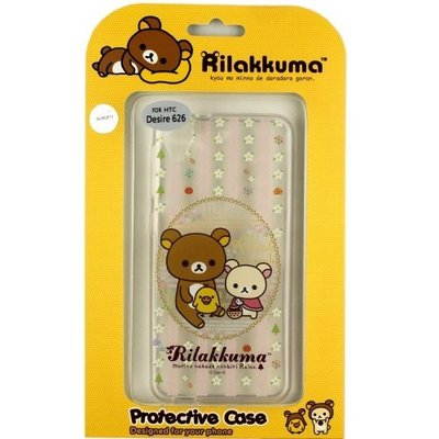 Rilakkuma 拉拉熊/ 懶懶熊 HTC Desire 626 (D626x) 彩繪透明保護軟套-花草優雅熊 桃園市