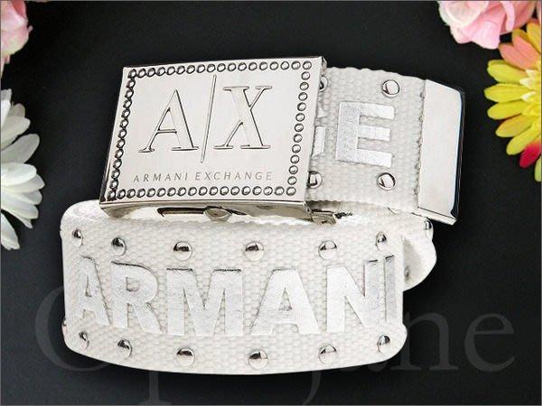 美國真品 A|X Armani Exchange AX 亞曼尼阿曼尼鉚釘裝飾腰帶休閒皮帶  s m l號 美國官網真品