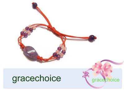 風姿綽約--五彩圓滿幸運手環(J720)~五色線加上配上粉晶及紫水晶~ 純手工編織