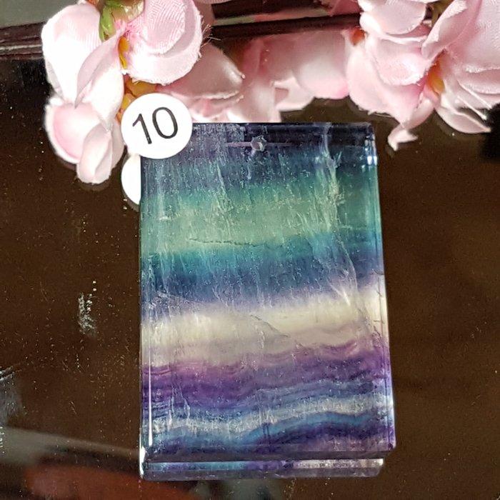 二姐的店 螢石 平安無事牌 項鍊墜飾 天然艷麗彩虹色 ~b634-10◎特價
