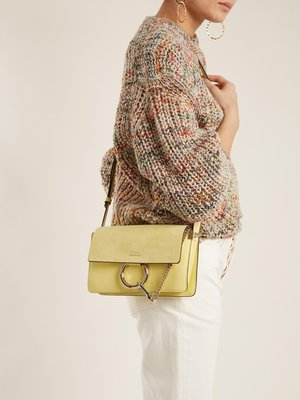 CHLOÉ  Faye small leather and suede cross-body bag