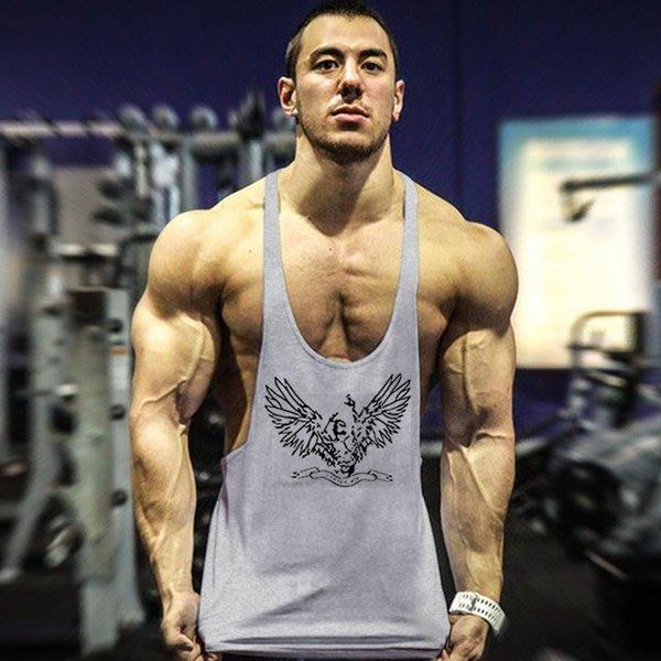 TT261 歐美爆款男士純棉印花老鷹肌肉健身挖背背心 籃球運動衫 大開叉 重訓 運動 HITOMEN