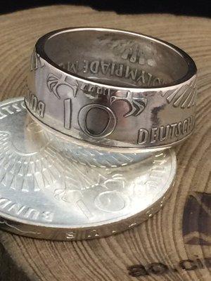 奢扣 GERMANY 10 MARK 1972 德國 慕尼黑 10馬克 紀念銀幣 「亮面版」手工戒指 賓士 Bmw