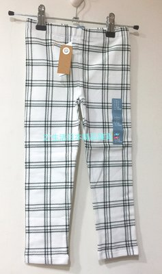 出清現貨  日本baby Gap 白底黑格線彈性合身長褲
