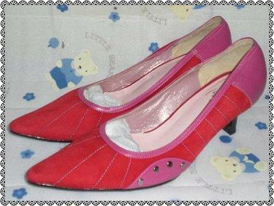 ☆甜甜妞妞小舖☆ 品牌 1031  紅色麂皮女鞋--- 尖頭中跟包鞋---23號