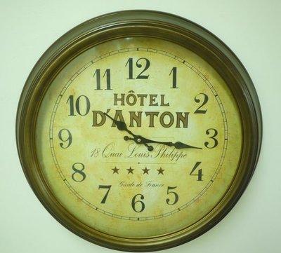 【布拉格歐風傢俱】HOTEL仿古銅鐵製掛鐘 阿拉伯數字圓鐘 復古歐風裝飾掛鐘 時鐘
