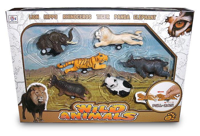 仿真動物模型玩具 動物迴力車 熊貓大象獅子犀牛模型賽車