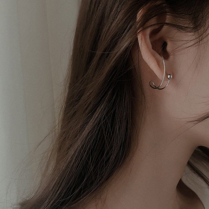 個性 弧形 圓珠 簡約 氣質 耳釘 耳環 【SE881】