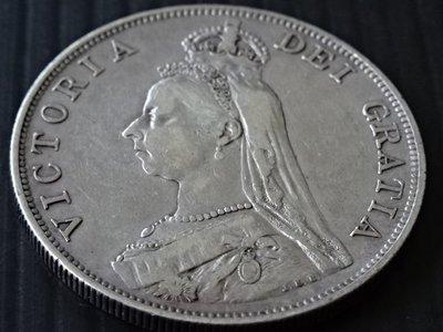 1887年日不落帝國 維多利亞女王銀幣 【2 Florin】 英國幣制史上發行年限最短的貨幣 保真