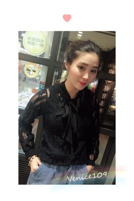 Venice 維娜絲日本連線代購專櫃品牌ENVIOUS黑色蕾絲縷空襯衫綁帶設計