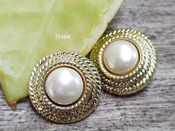 DAda緞帶‧i66091-21mm賈桂林風格珍珠金鈕扣1個$16.復古設計鈕扣