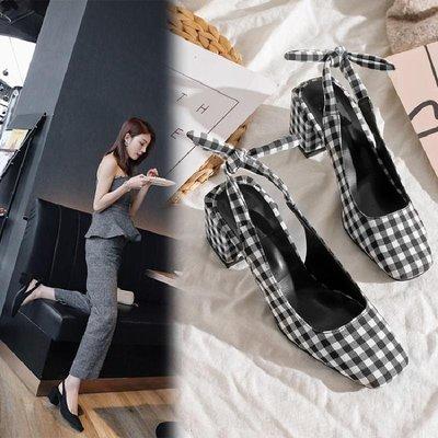 Hot shop 韓版時尚真皮包頭涼鞋 中跟粗跟方頭高跟鞋 黑白格子單鞋 後空女鞋