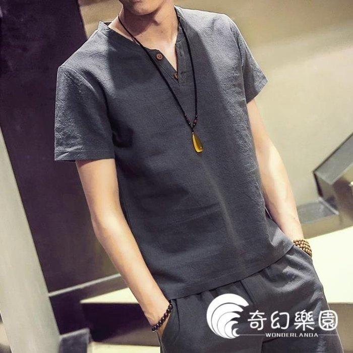 2018夏季新款V領亞麻短袖T恤上衣男士加肥大碼白色衣服韓版潮男裝