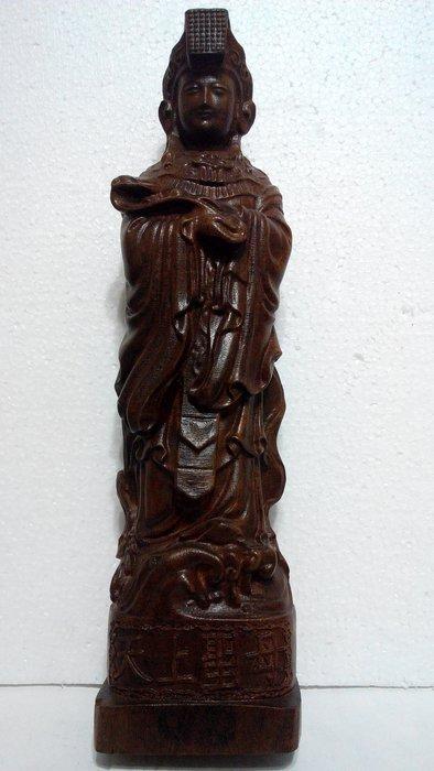 【九龍藝品】沉木雕 ~  天上聖母((媽祖娘娘))  ~ 高約39公分  (3)