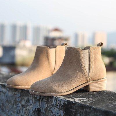 磨砂皮短靴女粗跟秋冬新款英倫風切爾西靴女新中跟真皮百搭裸靴小新惠鴨!ak