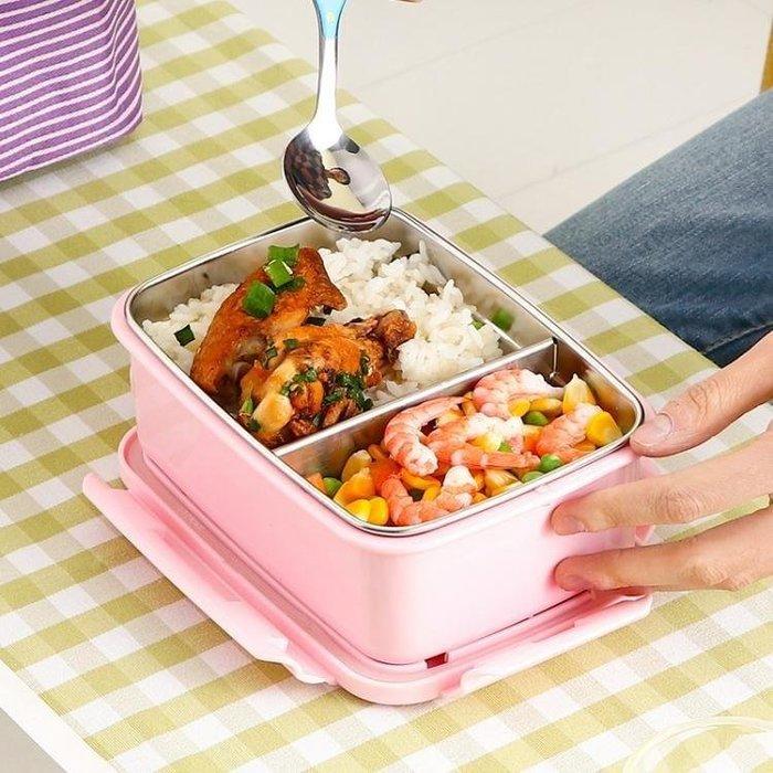 YEAHSHOP 304不銹鋼飯盒兒童女性便當盒防燙分格保溫餐盒雙層隔熱飯盒Y185