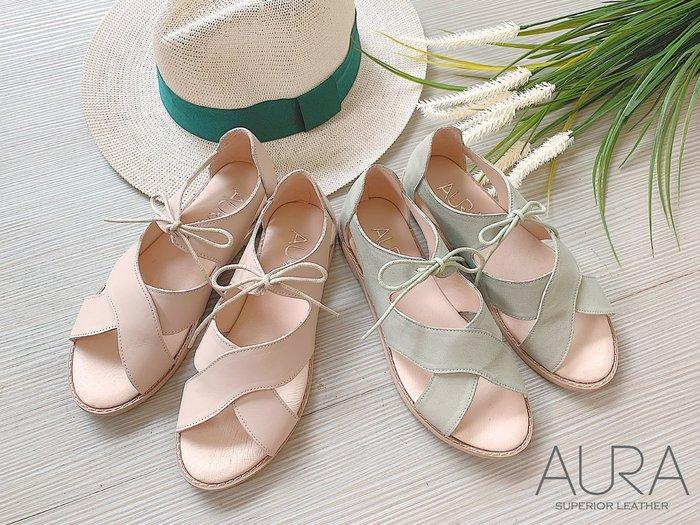 AURA[渡假羅馬風。綁帶小牛皮平底涼鞋]-鄉村灰綠/清甜裸膚(34~39)大小尺碼