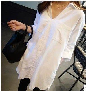 韓系 白襯衫反折二用短袖長袖中長款襯衣G612-A.6885 /BF風寬松大碼襯衫S-XL 胖胖美依