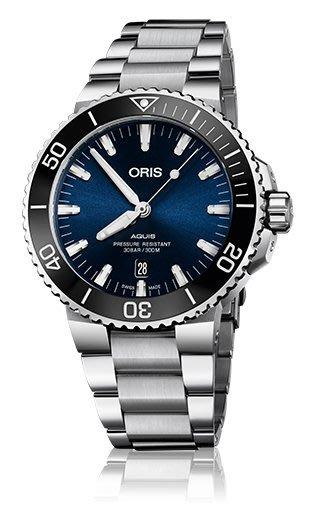 ORIS Diving Aquis 藍面 鍊帶錶733 7730 4135~07 8 24