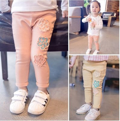 ♥【GK0053】韓版女童裝花朵休閒長褲 2色 (粉色 黃色 現貨) ♥