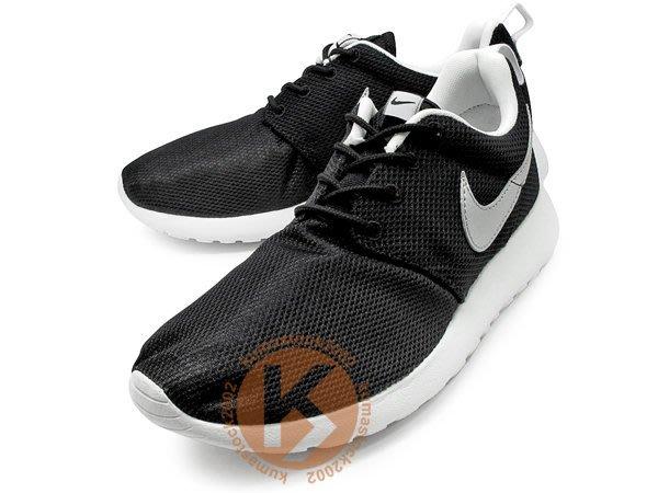 超人氣款式 NIKE ROSHERUN GS 大童鞋 女鞋 黑白 黑白銀 銀勾 透氣網布 (599728-007)
