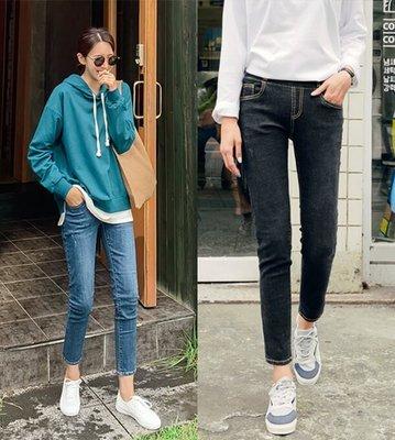 Bellee 正韓  縮小腹3吋 超好穿寬版鬆緊小直筒牛仔褲  S-XL (2色)【O191559】 預購
