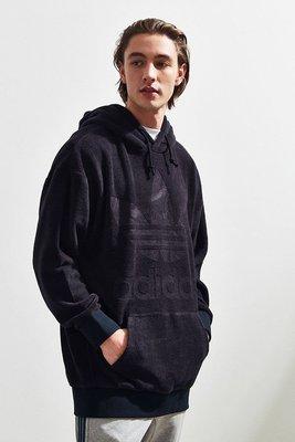 代購 adidas Oversized Velour Hoodie Sweatshirt 黑