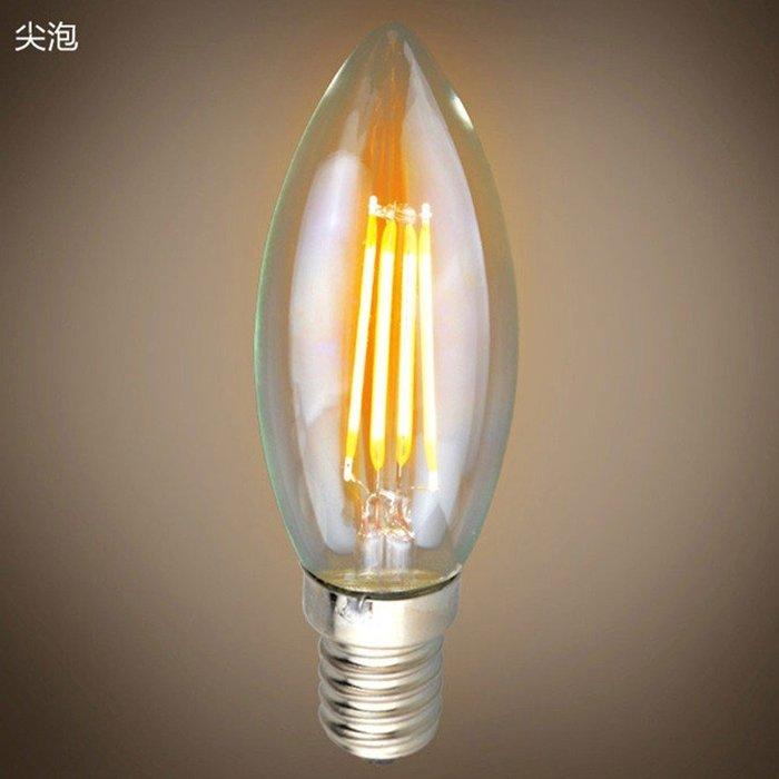 5Cgo【權宇】愛迪生 LED 復古鎢絲燈絲燈泡 4W=40W E14 E12尖圓拉尾蠟燭 220V 另2W 6W 含稅