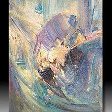 【 金王記拍寶網 】U1002  朱德群 款 抽象 手繪原作 厚麻布油畫一張 罕見 稀少 藝術無價~