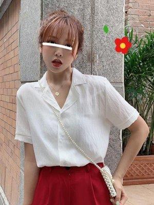 短袖襯衫 韓版寬鬆白色短袖襯衫女設計感小眾襯衣夏季2020新款百搭復古上衣