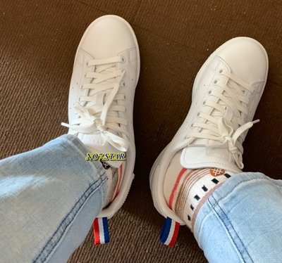 Adidas Stan Smith 史密斯 全白 法國 配色 皮革 紅藍白 織帶 奶油底 男女鞋 BD7433