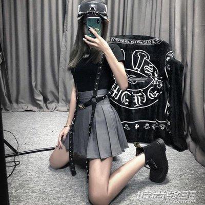 百褶裙半身裙時尚牛仔港味高腰ins裙子短裙DBX