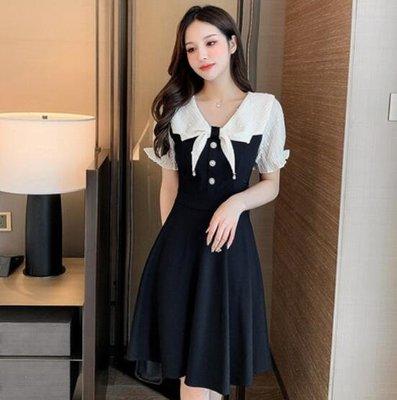 貼身關愛=洋裝連身裙甜美新款赫本風假兩件雪紡拼接修身顯瘦小黑裙= 裙子、連身裙、長裙、半身裙 、中長裙