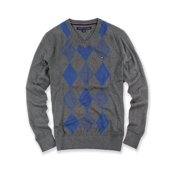 美國百分百【Tommy Hilfiger】針織衫 TH 線衫 毛衣 菱格 藍色格紋 V領 學院風 鐵灰 XS號 H628