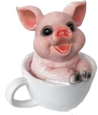 ~~尚盈家飾~~田園鄉村風 茶杯豬A 樹脂娃娃 裝飾 裝潢擺飾 居家店面布置
